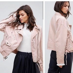 FREE PEOPLE oversized lace up moto jacket in rose